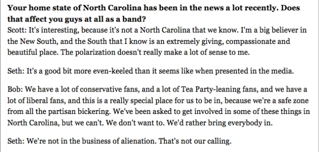 The Avett Brothers talk about North Carolina